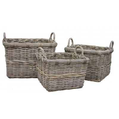 Square rattan log basket.