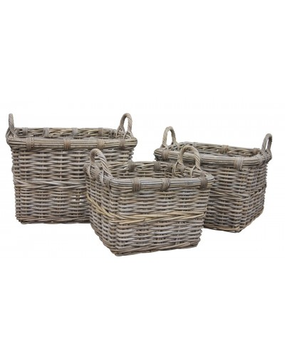 Square rattan log basket.