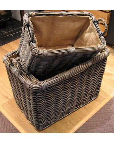 Azul Retangle log basket