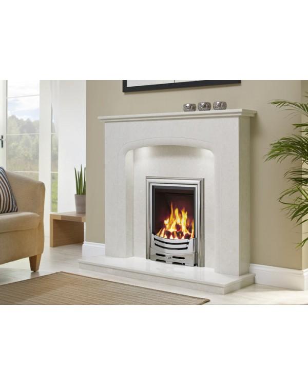 J&R HILL Draycott micro-marble fireplace