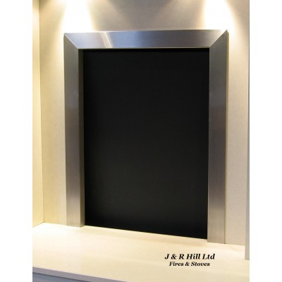 "Fire Trim - Frame Open Coal Fire Brushed Stainless steel 16""-18"""