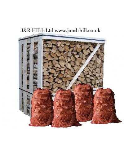 Kiln Dried logs 1.2 cubic metre crate 4 kindling nets